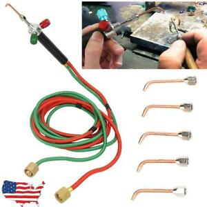 Oxygen Acetylene Weld Welding Cutting Torch Kit With 5 Tips 6000 Temperature Us