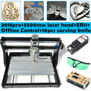 3018pro Cnc Machine 3 Axis Router Engraving Pcb Wood Mill 5500mw Laser offline