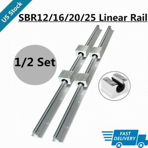 2 4x Sbr12 16 20 25 Linear Rail 200 2200mm 4 8x Sbr12 16 20 25uu Bearing Block