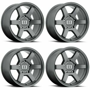 Set 4 17 Level 8 Mk6 17x8 Matte Gunmetal 6x5 5 Truck Wheels 0mm 6 Lug Rims