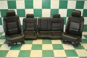 14 18 Gm Truck Double Cab Black Heated Leather Power Buckets Backseat Oem