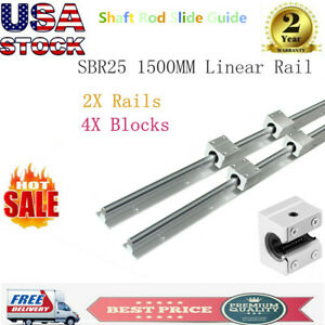 2 Sbr25 1500 25mm Linear Slide Guide Rail Shaft 4 Sbr25uu Bearing Blocks Cnc Set