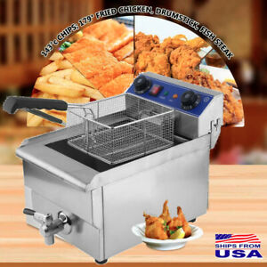 New 1650w 13l Commercial Electric Deep Fryer Restaurant Stainless Steel W Tank