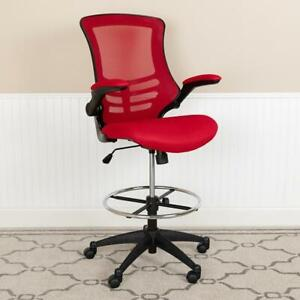 Mid back Red Mesh Ergonomic Drafting Chair With Adjustable Foot Ring And Flip up