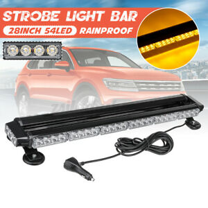 54led Amber Rooftop Warning Strobe Light Bar W Magnetic Base Double Side