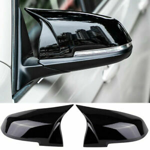 Gloss Black Rear Mirror Cover Caps For Bmw F20 F21 F30 F32 F36 X1 M3 Snap On