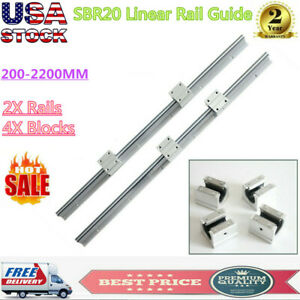 2x Sbr20 Slide Guide Shaft 200 2200mm Linear Rail Rod Sbr20uu Block Bearing Cnc