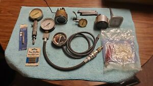 Snap On Vintage Compression Tester Gauge Stewart Warner Vacuum Radiator Temp Lot