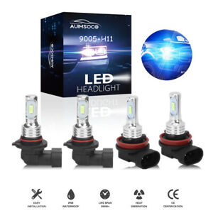 4 sided 9005 h11 Led Headlight Combo Kit Blue Light Bulb Hi lo Beam With Canbus