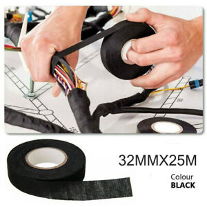 1 Roll 82ft Automotive Electrical Wire Harness Heat Proof Cloth Tape 32mm 25m