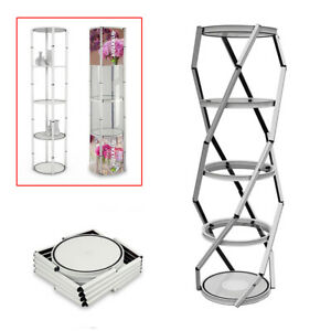 81 5 Layers Round Twister Spiral Tower Display Case Folding Portable Show Case