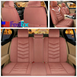 Winter Car Plush Artificial Wool Brick Red Warm Seat Covers Protector Cushion