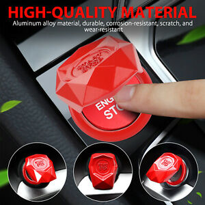 Alloy Engine Start Stop Push Button Cover Red Ring Car Accessorie Trim Universal