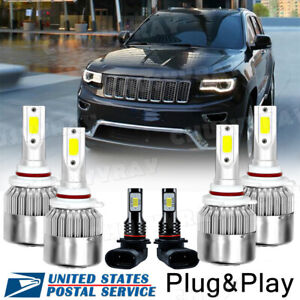 For Jeep Grand Cherokee 1999 2004 Led Headlight Bulbs Hi Low Beam Fog Lights 6k