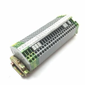 Lot Of 25 Wago 280 Terminal Block 20x Gray 5x Green yellow On 6 Din Rail