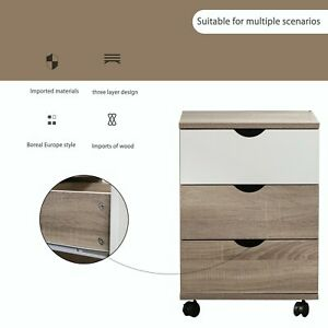 3 Drawers Wood Grain Mobile Filing Cabinet Waterproof Cabinet For Home Office