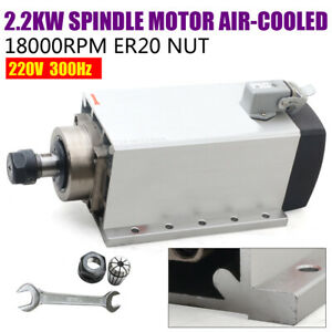 2 2kw Er20 Cnc Spindle Motor Air cooling 246mm 18000rpm For Engraving milling 6a