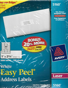 Avery Easy Peel Laser Address Labels 1 x2 5 8 Pack Of 3600 Free Shipping