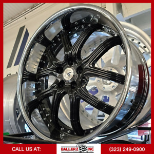 22 Staggered Asanti Forged 5x120 Gloss Blk chrome Lip Wheel Tire Package