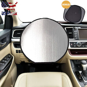 Car Sun Shade Sets For Steering Wheel And Side Window Heat Reflector Universal