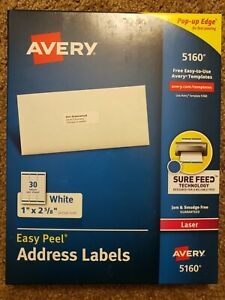 Avery 5160 Address Labels 1 X 2 5 8 540 Total 18 Sheets Blank White