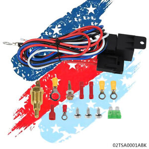 185 Degree Electric Radiator Engine Fan Thermostat Temperature Switch Relay Kit