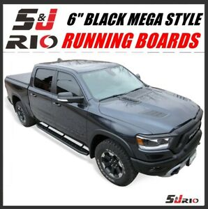 6 Black Mega Style Running Boards For 2019 2021 Dodge New Ram 1500 Crew Cab