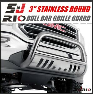 3 Stainless Round Bull Bar Guard For 2007 2010 Chevy Silverado 2500 3500hd