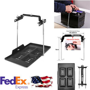 Car Storage Battery Holder Hold Down Metal Tray Adjustable Clamp Us Stock