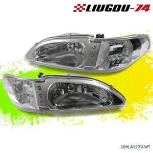 For 1994 1998 Ford Mustang Clear Lens Headlights Corner Turn Signal Lamps