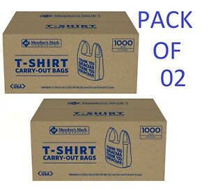 Member s Mark T shirt Carry out Bags 1 000 Ct Pack Of 02