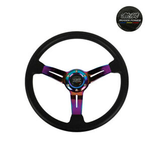 14 Mugen Style Racing Sport Neo Chrome Steering Wheel With Horn Button