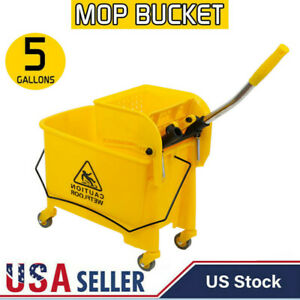 Mini Mop Bucket W wringer Combo Commercial Rolling Cleaning Cart Yellow 5 Gallon