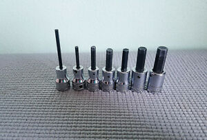 7pc Snap On Tools Sae 3 8 Drive Hex Allen Bit Socket Set 1 8 3 8 Usa