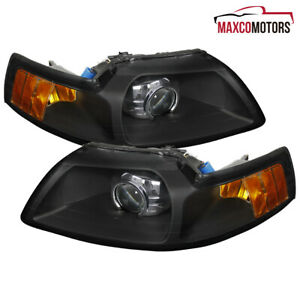 For 1999 2004 Ford Mustang Retrofor Projector Headlights Black Signal Lamps