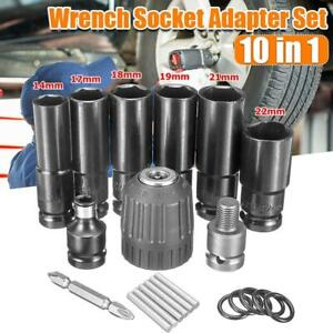 10pcs Electric Impact Wrench Hexs Socket Head Set Kit Drill Chuck Drive Adapter