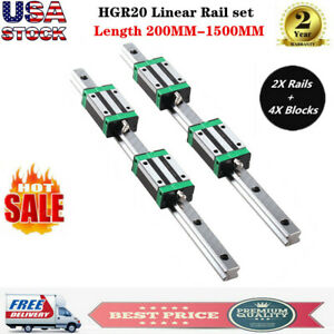 2pcs Hgr20 200mm 1700mm Linear Guide Rail 4pcs Hgh20ca Slider Block For Cnc Us
