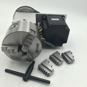 Rotary Axis 3jaw 100mm Lathe Chuck Nema34 Stepper 4th A Axis For Cnc Router