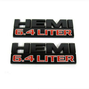 For Dodge Ram 2500 3500 Matte Black Hemi 6 4 Liter Nameplates Brand New Oem 2pcs