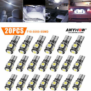 20pcs Cool White T10 Led Bulb Car Interior License Light 2825 192 194 5050 5 Smd