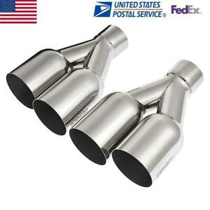 2pc Polished Dual Stainless Steel Exhaust Tip 2 5 Inlet 3 5 Outlet 10 25 Long