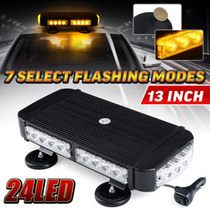 13 24 Led Amber Strobe Light Bar 72w Rooftop Emergency Warn Flash Lamp Magnetic