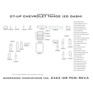 For Chevy Tahoe 07 14 Sherwood 2d Charcoal Cherry Reduced Dash Kit 28 Pcs