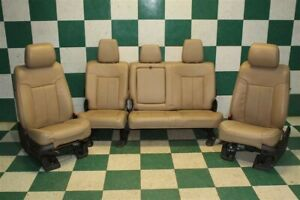 11 16 F250 Crew Tan Leather Power Heated Cooled Buckets Backseat Seat Set Oem