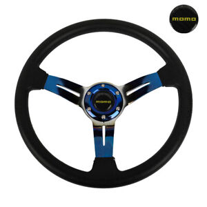 14 Momo Style Racing Sport Burnt Blue Steering Wheel With Horn Button