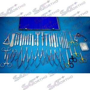 Ophthalmic Micro Eye Surgery Instruments Set Of 44pcs With Box German Stainless
