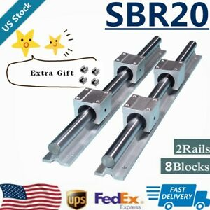 Sbr20 Linear Rail Guide 200mm 2200mm Slide Shaft Rod 8x Sbr20uu Bearing Block