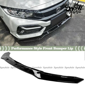 Fits 16 2021 Honda Civic Hatchback Glossy Black Performance Style 2pc Front Lip