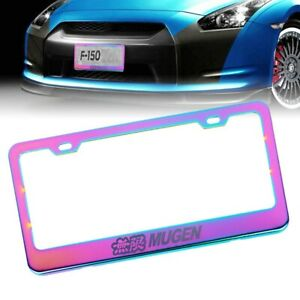 1x Universal Mugen Neo Chrome Stainless Steel License Plate Frame With Screw