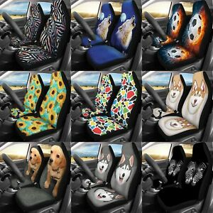 Animal Printed Car Seat Covers Universal Fit Elastic Soft Comfortable Pack 2 Pcs
